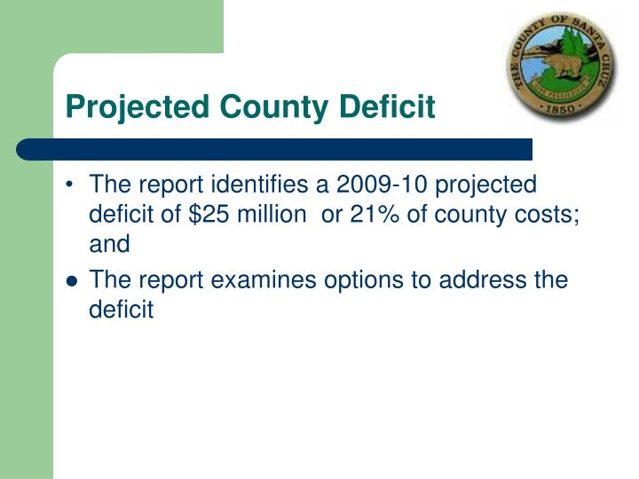 Projected County Deficit