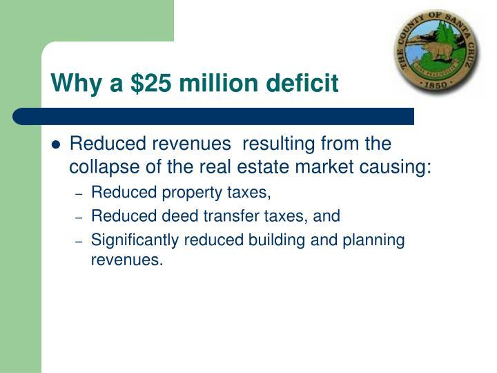 Why a $25 million deficit