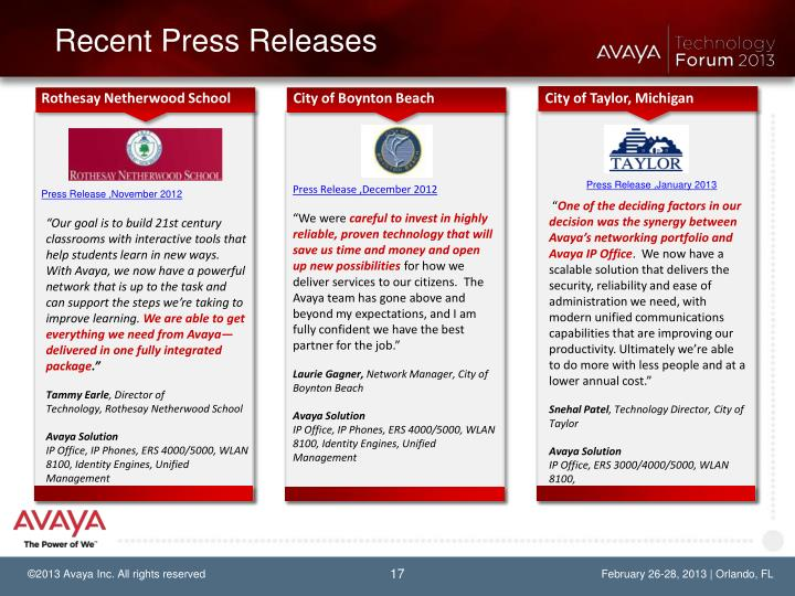 Recent Press Releases