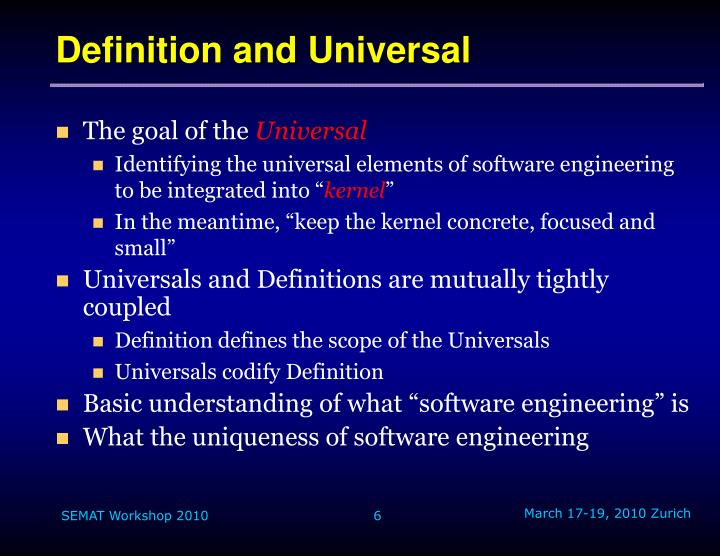 Definition and Universal