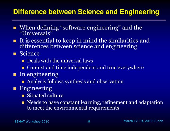 Difference between Science and Engineering