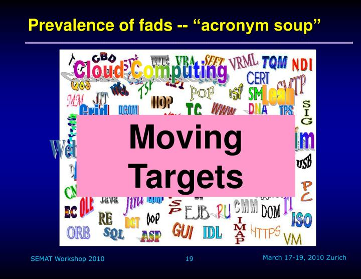 "Prevalence of fads -- ""acronym soup"""