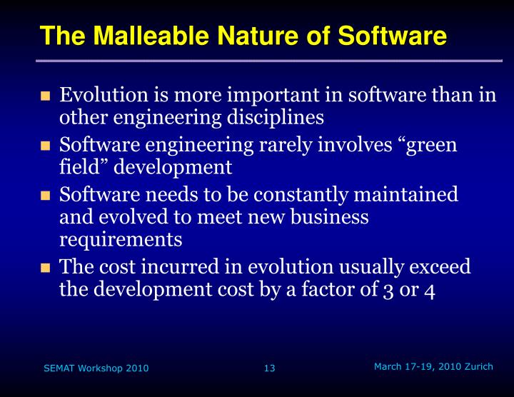 The Malleable Nature of Software
