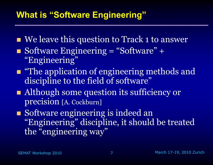 "What is ""Software Engineering"""