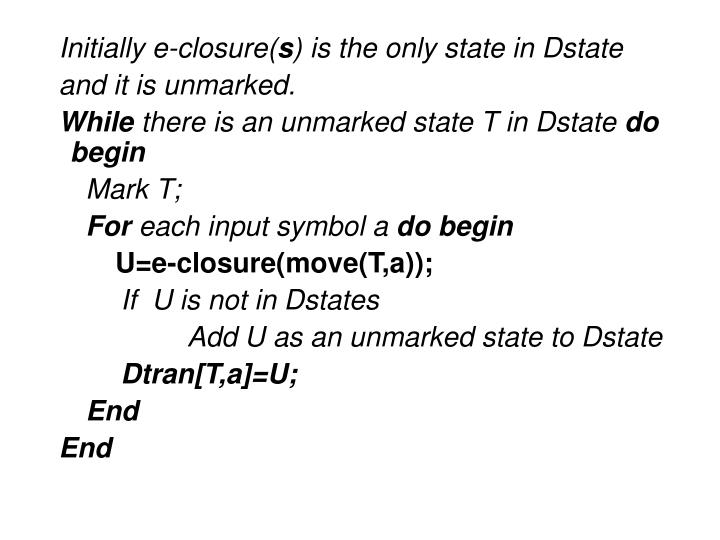 Initially e-closure(