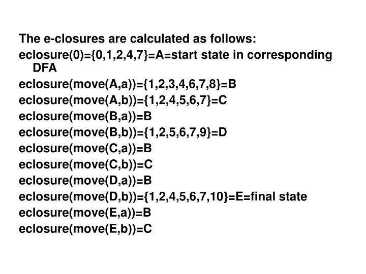 The e-closures are calculated as follows: