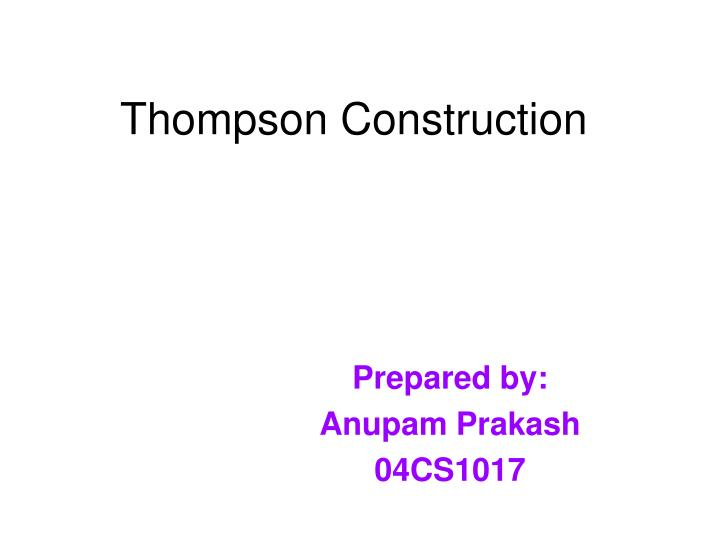 Thompson construction
