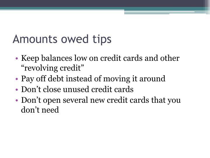 Amounts owed tips