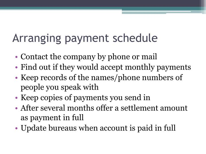 Arranging payment schedule
