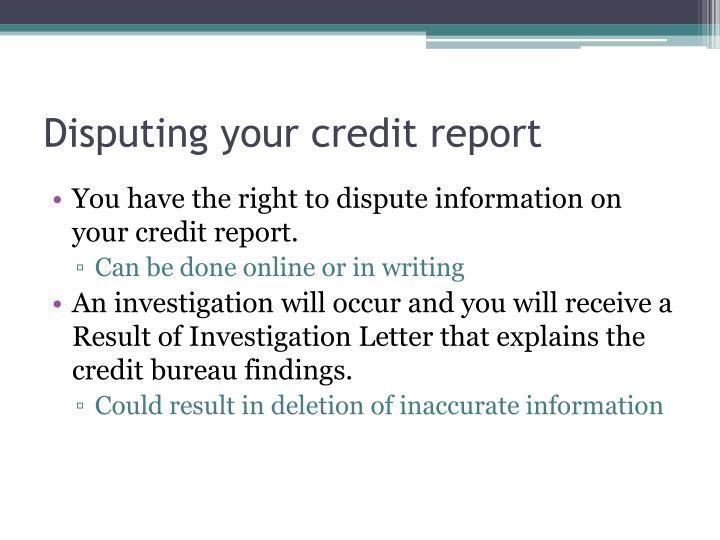 Disputing your credit report
