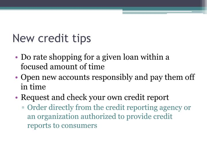 New credit tips