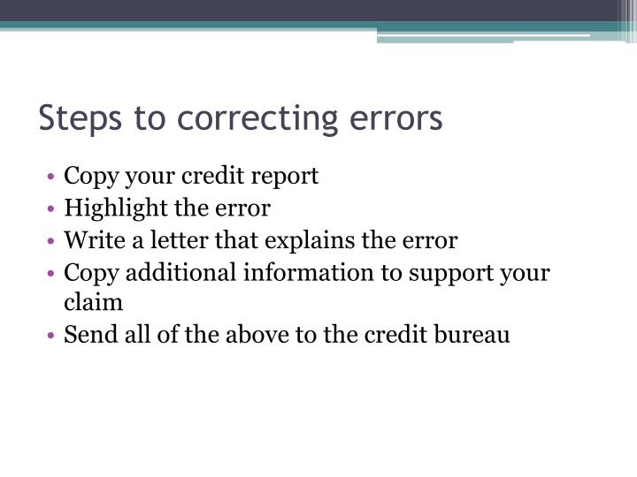 Steps to correcting errors