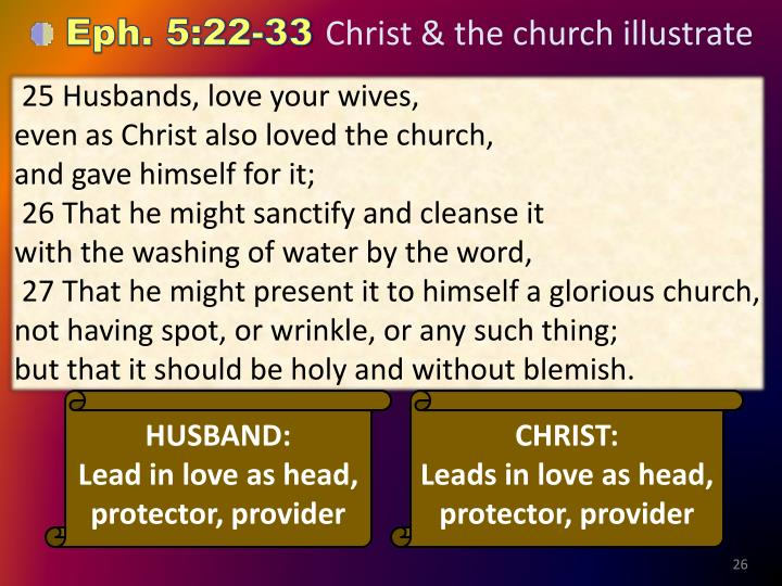 25 Husbands, love your wives,                                                      even as Christ also loved the church,                                           and gave himself for it;