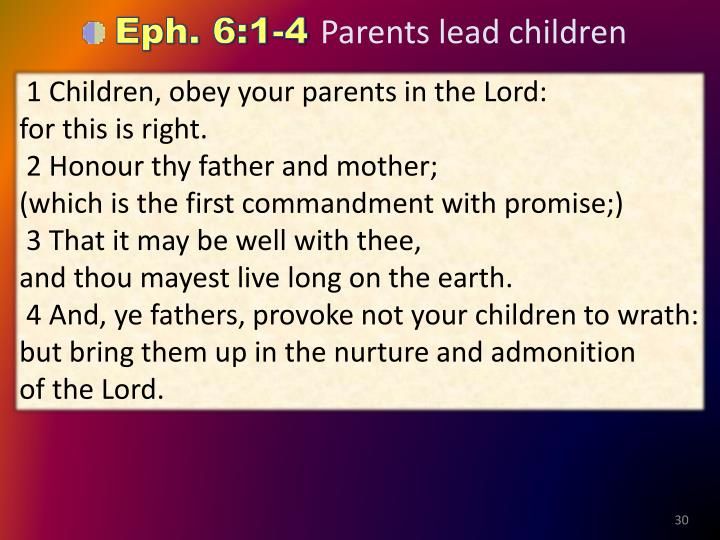 1 Children, obey your parents in the Lord:                        for this is right.
