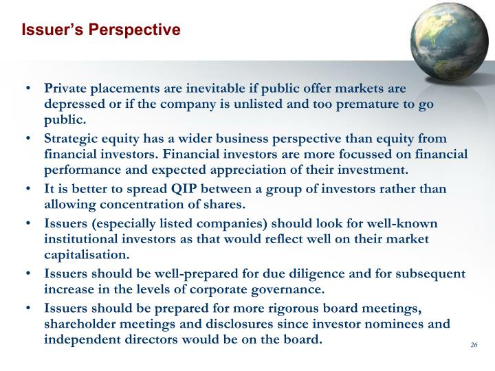 Issuer's Perspective