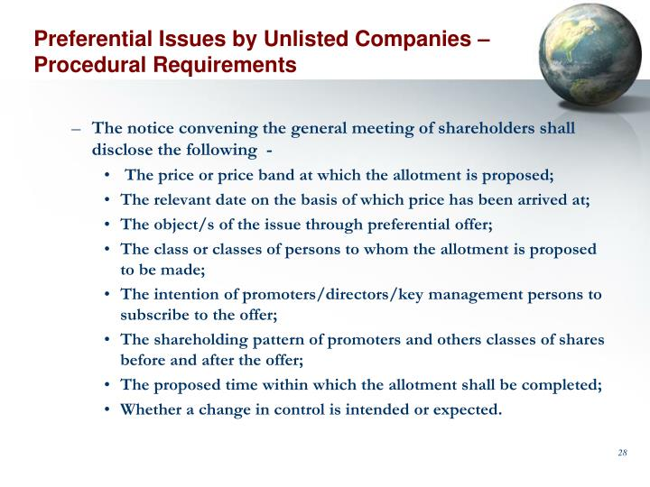 Preferential Issues by Unlisted Companies – Procedural Requirements