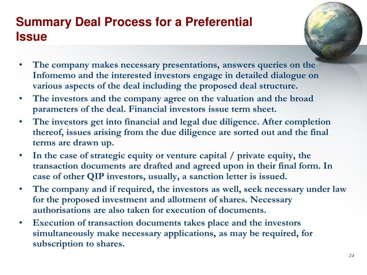 Summary Deal Process for a Preferential Issue