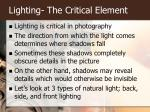 lighting the critical element