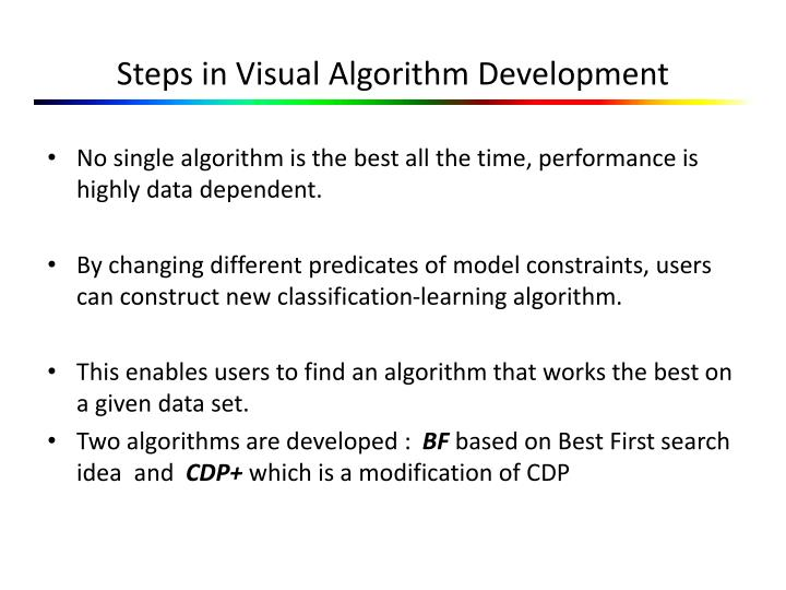 Steps in Visual Algorithm Development