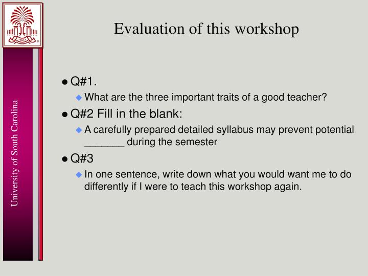 Evaluation of this workshop