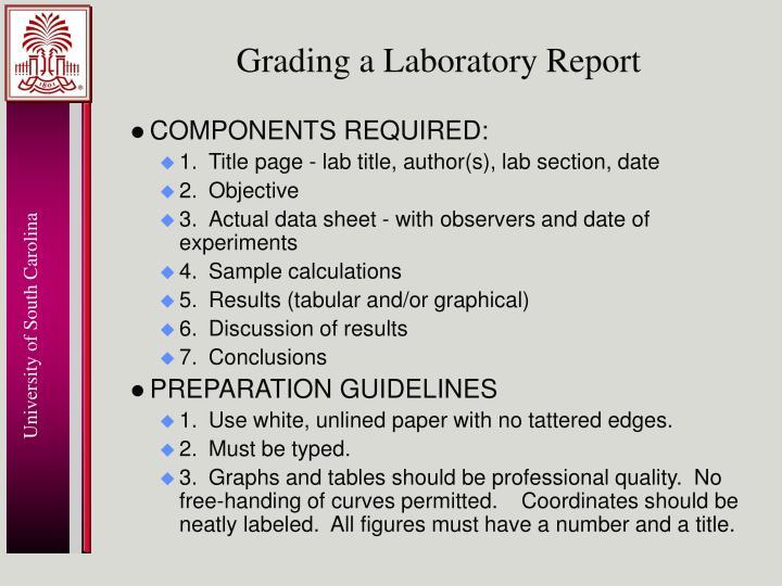 Grading a Laboratory Report