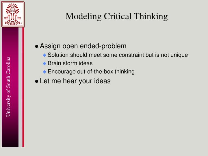 Modeling Critical Thinking