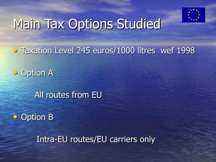 Main Tax Options Studied