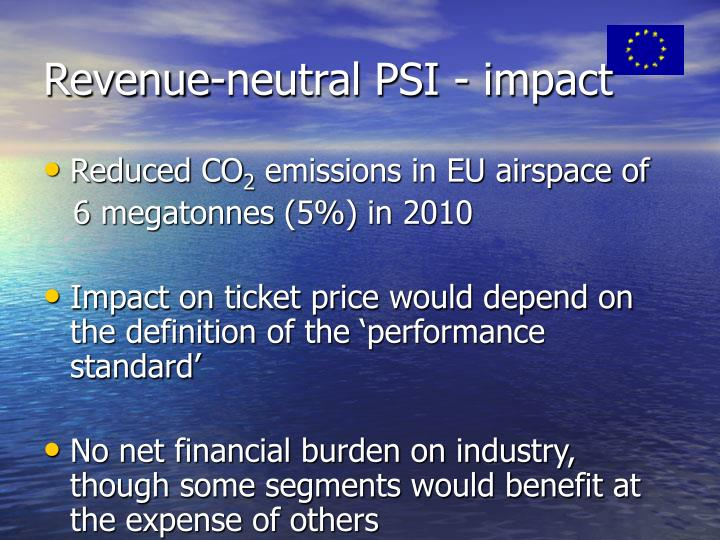 Revenue-neutral PSI - impact