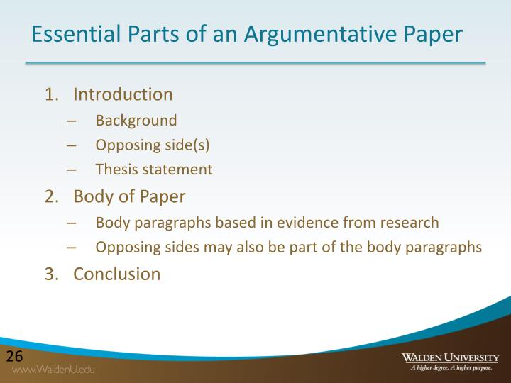 Essential Parts of an Argumentative Paper