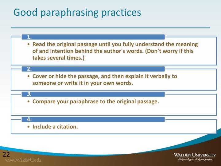 Good paraphrasing practices