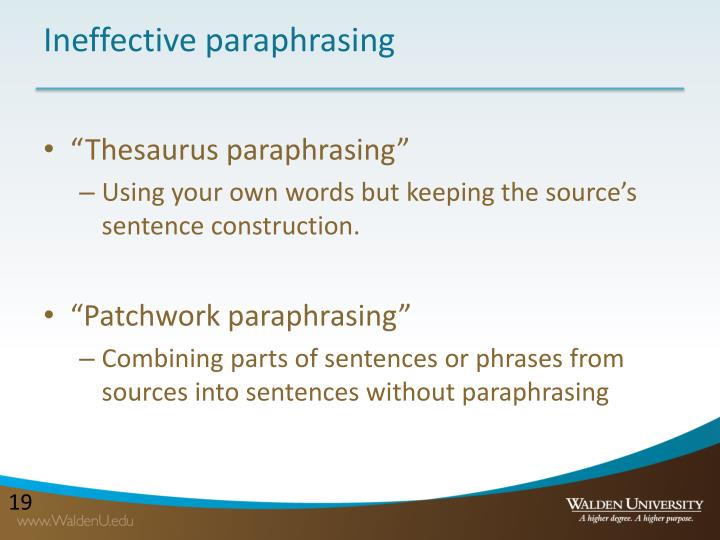 Ineffective paraphrasing