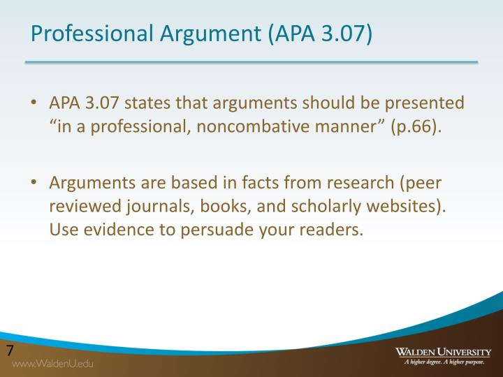 Professional Argument (APA 3.07)