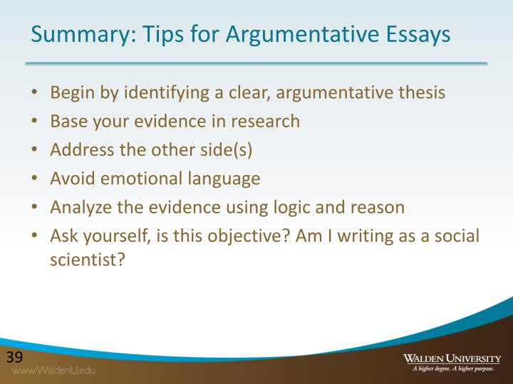 Summary: Tips for Argumentative Essays