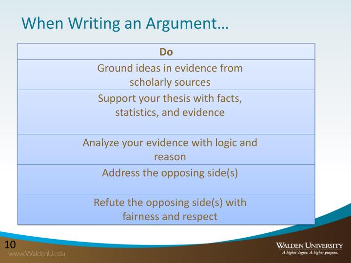 When Writing an Argument…