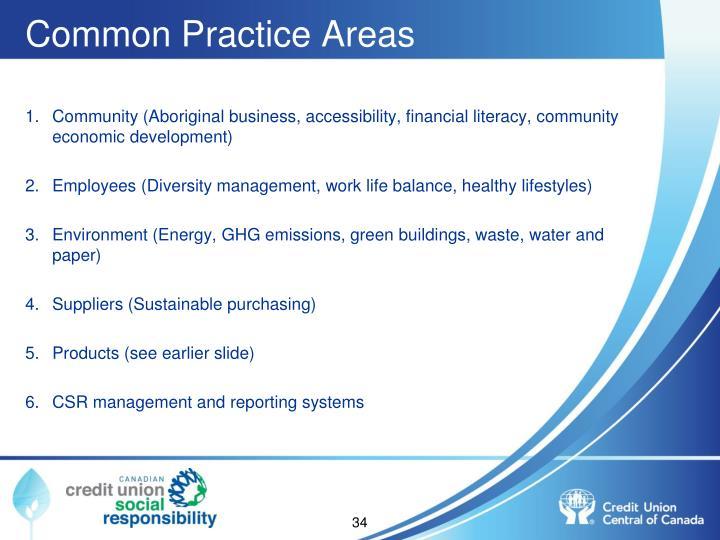 Common Practice Areas
