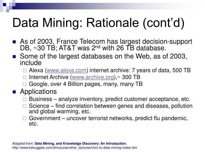 Data Mining: Rationale (cont'd)