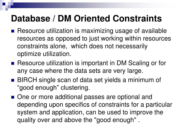 Database / DM Oriented Constraints