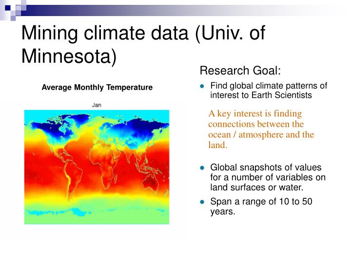 Mining climate data (Univ. of Minnesota)