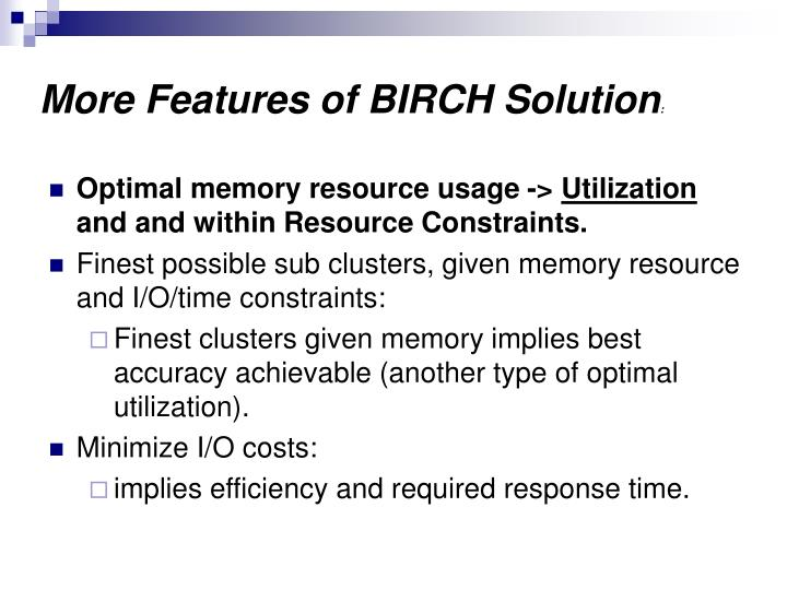 More Features of BIRCH Solution