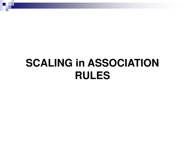 SCALING in ASSOCIATION RULES
