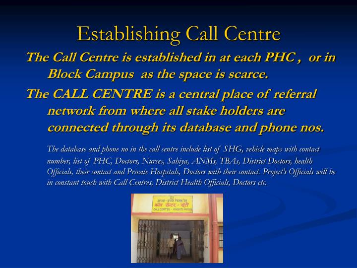 Establishing Call Centre