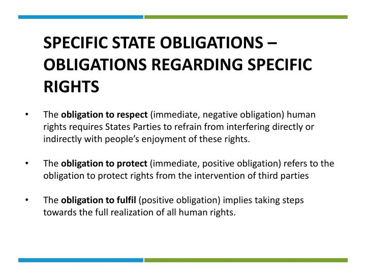 SPECIFIC STATE OBLIGATIONS – OBLIGATIONS REGARDING SPECIFIC RIGHTS