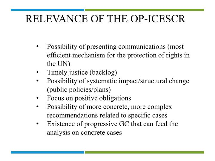 RELEVANCE OF THE OP-ICESCR