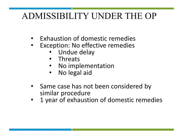 ADMISSIBILITY UNDER THE OP