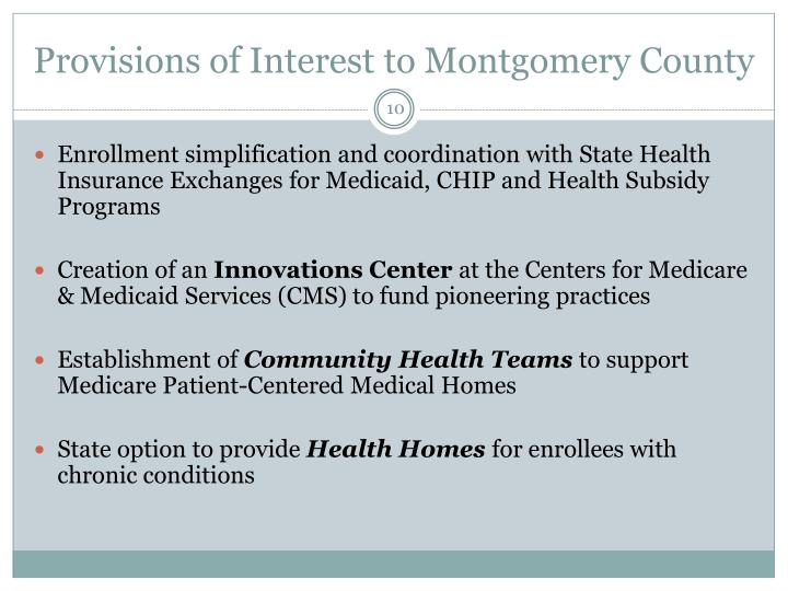 Provisions of Interest to Montgomery County