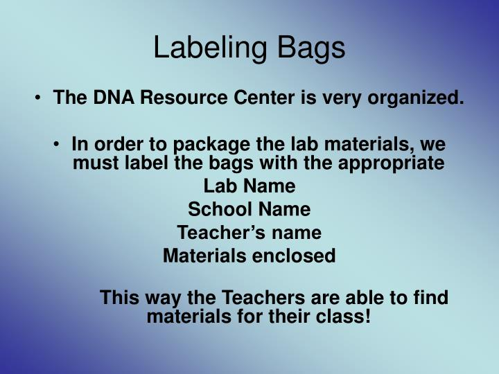 Labeling Bags
