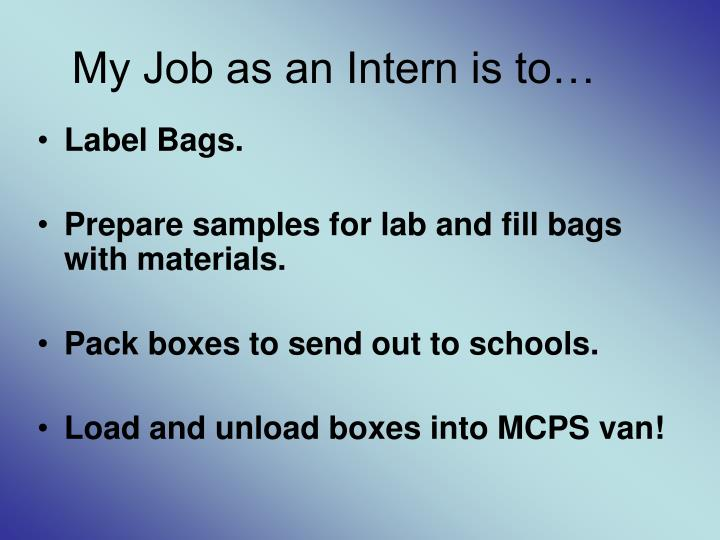 My Job as an Intern is to…