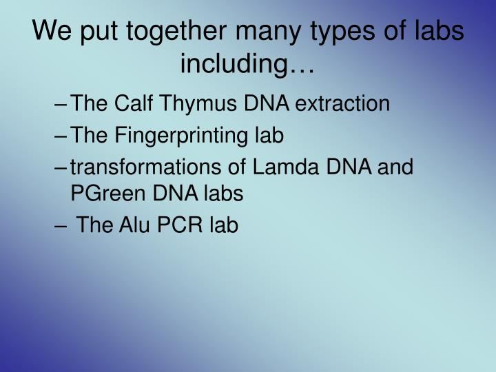 We put together many types of labs including…