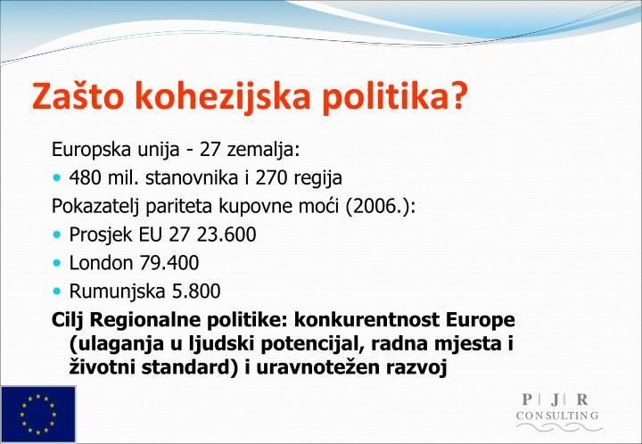 Zašto kohezijska politika?