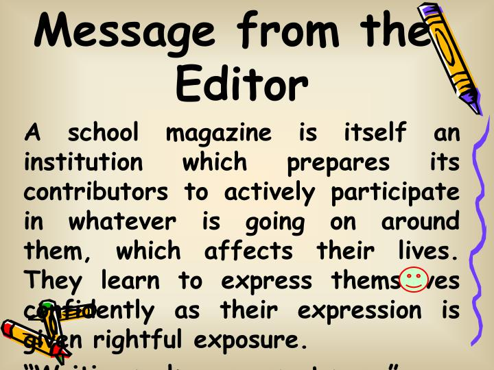 Message from the Editor